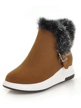 Stivali invernali marroni Pelle scamosciata Punta tonda Dettaglio in pelliccia Stivali corti Stivali da neve