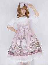 Sweet Lolita JSK Dress Infanta Royal Rabbit Tea Party Print Bow Lace Trim Pleated Chiffon Lolita Jumper Skirt