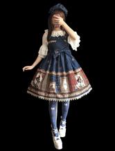 Classic Lolita JSK Infanta Magic Dictionary Print Bow Pleated Lolita Jumper Skirt