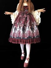 Sweet Lolita JSK Dress Infanta Elk Ruffle Lace Trim Bow Print Silk Burgundy Lolita Jumper Skirt