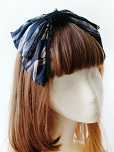 Sweet Lolita Hair Accessory Infanta Elk Print Lace Trim Bow Burgundy Lolita Headdress