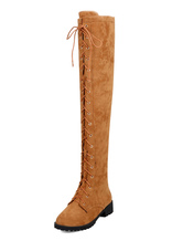 Thigh High Boots Womens Micro Suede Lace Up Round Toe Chunky Heel Over The Knee Boots