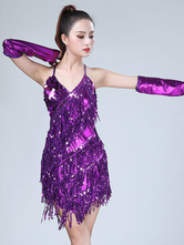 a3069cced7fe Latin Dance Costume Dresses Red Women Sequin Tassels Halter Short Sexy Dancing  Wear