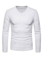Men Knit Wear V Neck Cotton Long Sleeve Pullover Sweater