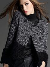 Women Black Jacket Buttons Faux Fur Tweed Winter Jacket