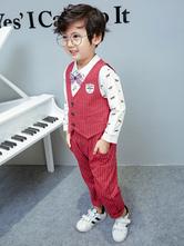 Ring Bearer Anzug Jungen Outfit Red Stripes Hosen Weste Shirts Kinder 3 Stück Set