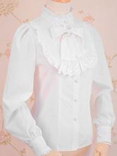 Camicia classica Lolita in pizzo con fiocco arricciato e lilla bianca