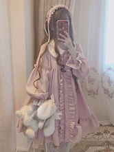 Sweet Lolita OP Dress Star Lace Ruffle Frill Pink Lolita One Piece Dress