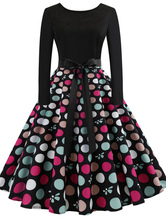 Women Vintage Dress 1950s Swing Dress Printed Long Sleeve Retro Dress