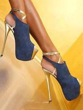 High Heel Booties tief blaue Plattform Peep Toe Slingpumps Sky High Sexy Schuhe für Frauen