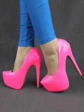 Sapatos 2021 Plataforma De Salto Alto Sexy Almond Patent Pu Stiletto Salto Deslizamento Em Bombas Para As Mulheres