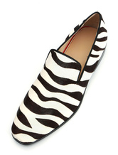 Mens Zebra Printed Loafers Shoes with Horsehair Leather Round Toe slip on Driving Shoes