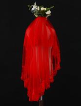 Roter Hochzeits-Schleier Tulle One Tier Spitze Applique Rand Brautschleier