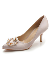 Satin Evening Shoes Pointed Toe Rhinestones Pearls Slip On Pumps Women Party Shoes