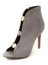 Stivaletti con sandalo grigio Stivaletti in pelle scamosciata Stivali aperti a tacco alto da donna