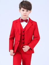 Roter Ring Träger Outfit Hochzeit Jungen Anzüge Smoking Kinder Abendgarderobe 5 Stück