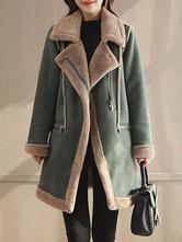 Manteau femmes en daim Manteau col en fausse fourrure manteau en peau de mouton Poches zippées Manteau d'hiver