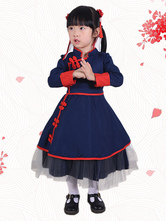 Chinese Style Lolita OP Dress Two Tone Piping Blue Lolita One Piece Dress For Kids