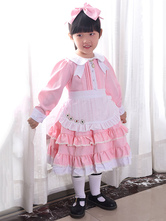 Maid Style Kid Lolita Outfit Ruffle Two Tone One Piece Dress With Apron And Headdress