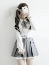 Classic Lolita Outfit Bow Frill Lolita Blouse With Pleated Skirt