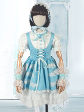 Sweet Lolita Outfit Children Ruffle Lace Bow Two Tone One Piece Dress 4 Piece Lolita Set