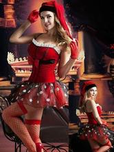 Costume Noël Halloween 2020 Rouge Noël Femmes Robe et Chapeau