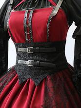 Classic Lolita Corset Metallic Buckle Jacquard Lace Up Black Lolita Bustier