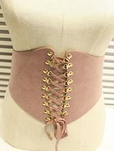 Pink Lolita Bustier Suede Metallic Lace Up Lolita Corset