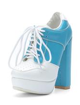 botines mujer azul  de tacón gordo de puntera de forma de almendra 14.5cm de PU Primavera Otoño con cinta estilo street wear estilo informal