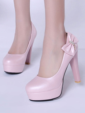 Lolita Pumps Shoes High Heel Pink Bows Patent PU Lolita Shoes