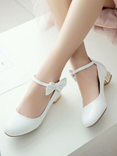 Classic Lolita Shoes Bow Pearl Ankle Strap Metallic Puppy Heel White Lolita Pump