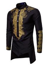 Camicia Casual a Maniche Lunghe con Disegno Irregolare di Abiti Arabi da Uomo