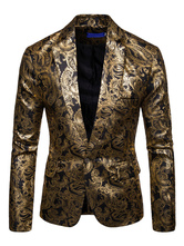 Blazer For Men Notch Collar Gold Stamping One Button Long Sleeve Casual Blazer Jacket