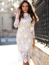 Vestido de mujer blanco de manga tres cuartos vestido de encaje en todo