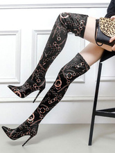 Women Thigh High Boots Satin Pointed Toe Over The Knee Boots High Heel Boots