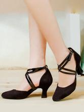 Sapatos de Dança latina Preto Dedo Do Pé Redondo Criss Cross Dancing Shoes Sapatos de Dança de Salão Para As Mulheres