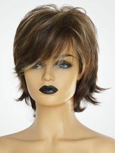 Human Hair Wigs Deep Brown Highlighting Short Hair Wigs For Women
