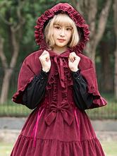 Classic Lolita Poncho Neverland Danube Lovers Ruffle Hooded Corduroy Lolita Cape