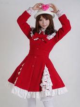 Sweet Lolita Overcoat Lace Trim Ruffle Bow Wool Lolita Winter Coat
