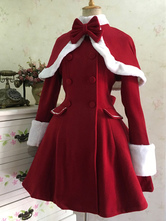 Clássico Lolita Casaco De Lã Arco Dupla Breasted Furry Lolita Casaco De Inverno