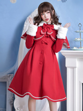 Sweet Lolita Overcoat Bow Pleated Wool Lolita Winter Coat With Cape