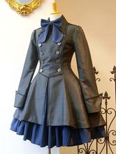ゴスロリ軍服ワンピース 古典的なロリータ服 ジッパーレースアップ プリーツ ジャンパースカートとダブルブレスト ロリータオーバーコート