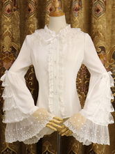 Rococo Lolita Shirt Lace Trim Ruffle Bow Chiffon Lolita Blouse