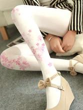 White Lolita Stocking Sakura Velvet 480D Winter Lolita Pantyhose
