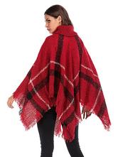 48ac4a24b ... Women Sweater Poncho Turtleneck Fringe Color Block Knitwear-No.3 ...