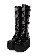 Gothic Lolita Boots Metallic Buckle Zipper Grommet Lace Up Platform Black Lolita Footwear