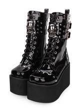 Gothic Lolita Boots Metallic Buckle Rivet Lace Up Zipper Plataforma Lolita Preto Calçado
