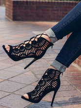 Black Suede Gladiator Sandals Cut Out Lace Up Stiletto Heel Sandals