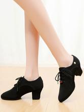 Zapatos de baile latino Zapatos redondos con cordones de punta redonda negros Zapatos de jazz Zapatos