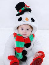 Faschingskostüm Schneemann Kigurumi Pajamas 2021 Kleinkinder-Strampler Weiß Flanell Kinder Winter Overall Karneval Kostüm Karneval Kostüm